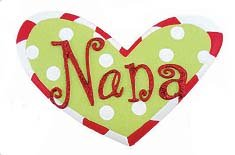 Nana or Papa Heart Christmas Tree Ornaments (Nana)