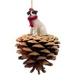 Brown & White Jack Russell Terrier w/Rough Coat Pinecone Christmas Ornament
