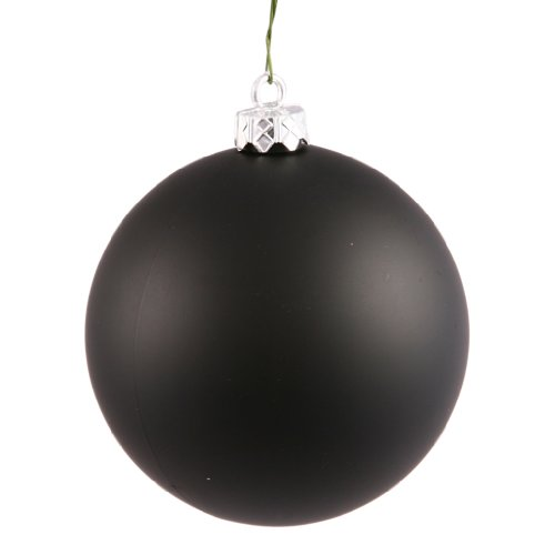 Vickerman Drilled UV Matte Ball Ornaments, 4-Inch, Black, 6-Pack