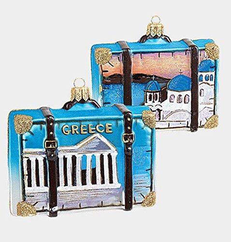 Greece Parthenon Travel Suitcase Polish Mouth Blown Glass Christmas Ornament