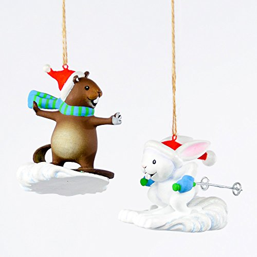 Christmas Holiday Hollywoods Winter Sports Ornaments (Set of 2) Skiing Bunny/Snowboarding Mouse