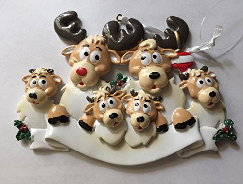 Reindeer Family/6 Personalized Ornament
