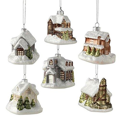 Bethany Lowe Mini House Ornaments, Set of 6 Styles