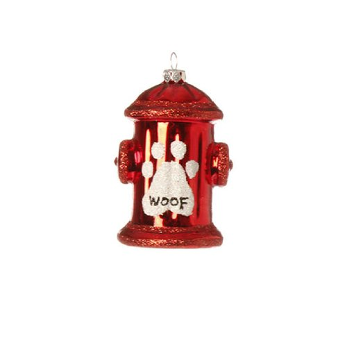 """""""Woof"""" Fire Hydrant Ornament (Set of 8)"""