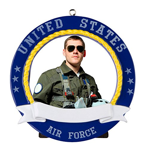 Air Force Picture Frame Personalized Christmas Tree Ornament