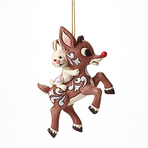 Jim Shore Rudolph Carrying Bunny Orn Hanging Ornament
