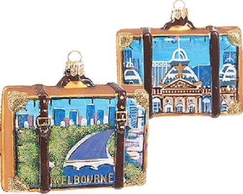 Melbourne Australia Travel Suitcase Polish Mouth Blown Glass Christmas Ornament