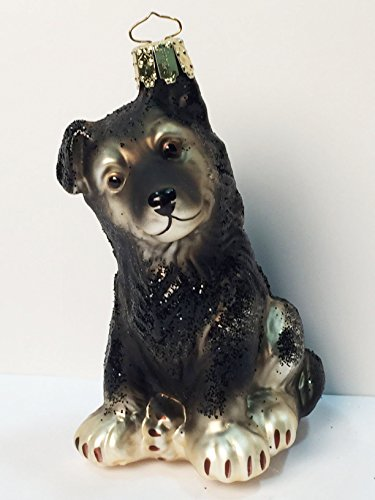German Shepherd Dog Christmas Ornament (Black/Tan) created by European artisans for ORNAMENTS TO REMEMBER