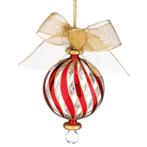 LENOX CRYSTAL ORNAMENTS Peppermint stripe red