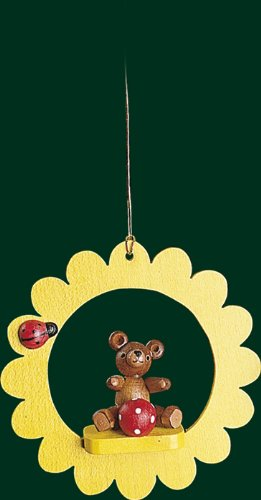 Hanging Christmas Tree Ornament Teddy with Ball, 3.4 Inches