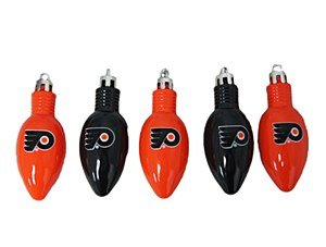 Philadelphia Flyers 5pc Set Replica Light Bulb Christmas Tree Ornaments