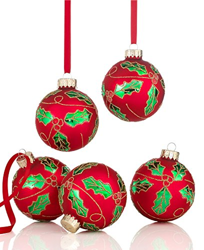 Holiday Lane Set of 5 Red Holly Ball Ornaments, Set of 5