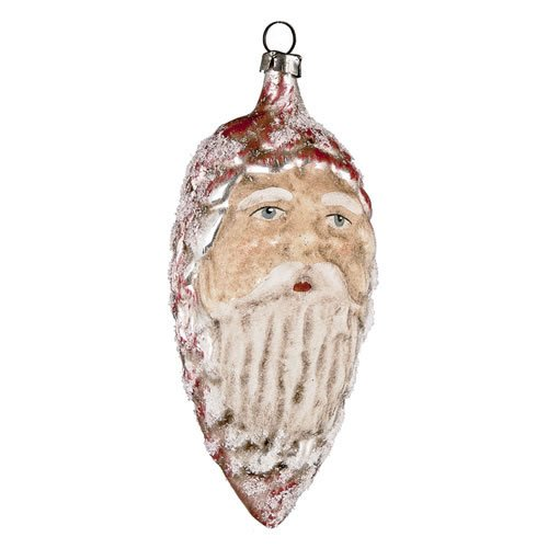 "Vintage mouthblown Christmas Glass ornament ""Red Cone with Face"" with glimmer by MAROLIN® Germany"