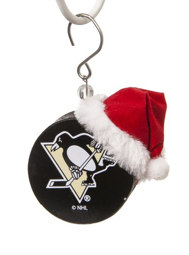Pittsburgh Penguins Team Puck with Santa Hat Christmas Ornament