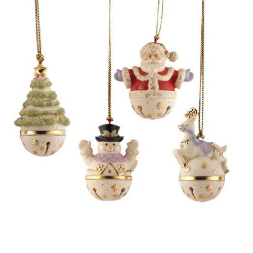 Lenox Sleigh Bell, Christmas Ornaments, Set of 4