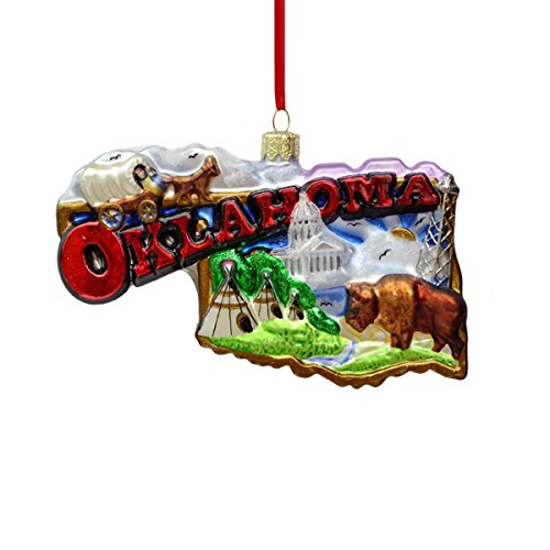 Kurt Adler 5.5″ Noble Gems Glass Oklahoma Ornament