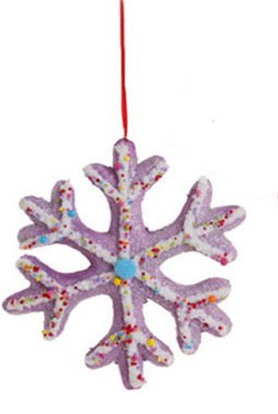 8″ Cupcake Heaven Large Purple and White Snowflake Cookie Christmas Ornament