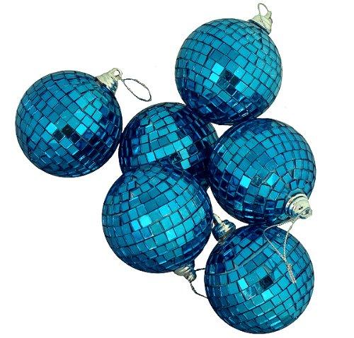 6ct Regal Peacock Blue Mirrored Glass Disco Ball Christmas Ornaments 3.25″ 80mm