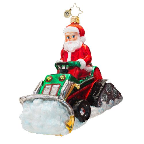 Christopher Radko Glass Clearing the Way Santa on Snow Plow Christmas Ornament #1017270
