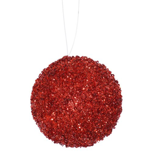 Vickerman 31941 – 3″ Red Beaded Sequin Ball Christmas Tree Ornament (6 pack) (J134003)