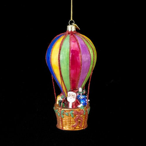 5″ Noble Gems Glass Santa in Multi-Color Hot Air Balloon Christmas Ornament
