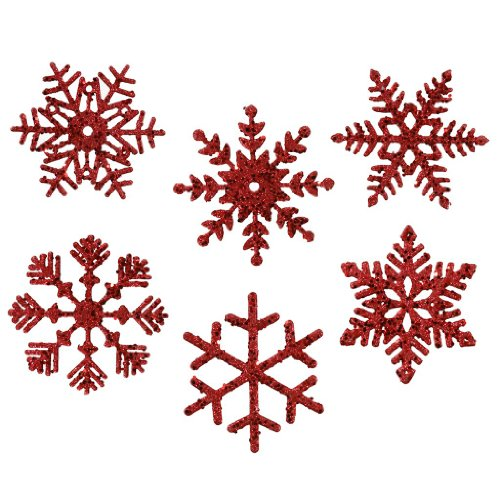 Vickerman Glitter Snowflake Assorted Ornaments, 5-Inch, Red, 6-Pack