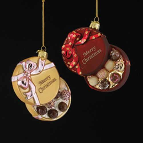 "NOBLE GEMS GLASS ""MERRY CHRISTMAS"" CHOCOLATE BOX ORNAMENT -RED AND GOLD"