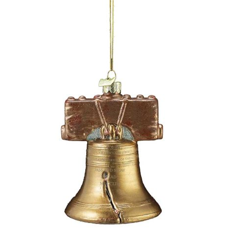4.25″ NOBLE GEMS GLASS LIBERTY BELL ORNAMENT.