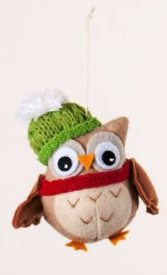 One Hundred 80 Degrees Fabric Owl Ornament, Choice of Styles (Owl Ornament-gren cap)