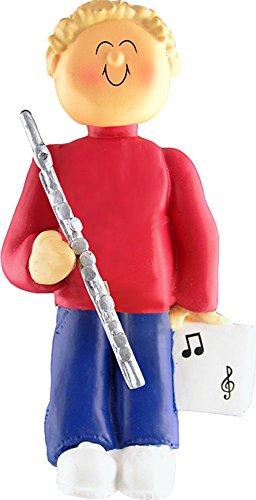 Music Treasures Co. Male Musician Flute Ornament (Blonde Hair)