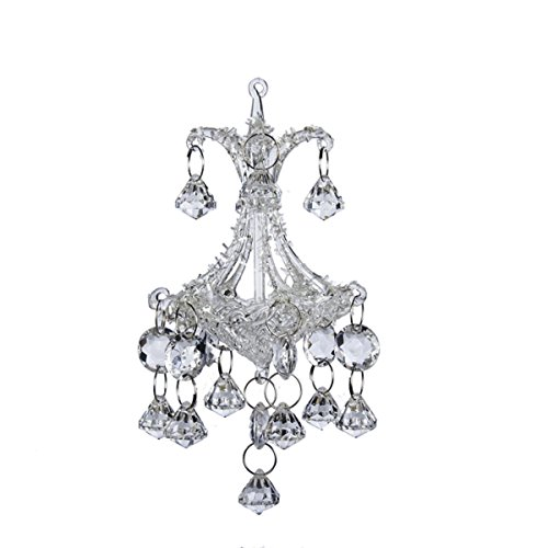 Club Pack of 12 Noble Gems Glass Chandelier with Crystals Ornaments 6.3″