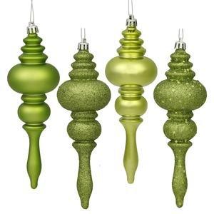 Vickerman Christmas Trees N500213 Sequin 8-Piece Finial Ornament Set, 180mm, Lime