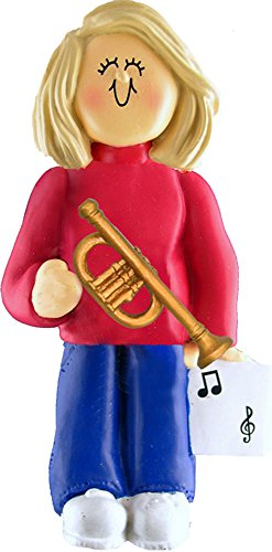Music Treasures Co. Female Musician Trumpet Ornament – Blonde