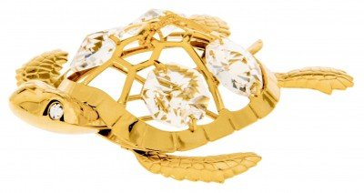 Sea Turtle 24k Gold Plated Ornament Figure with Spectra Crystals by Swarovski