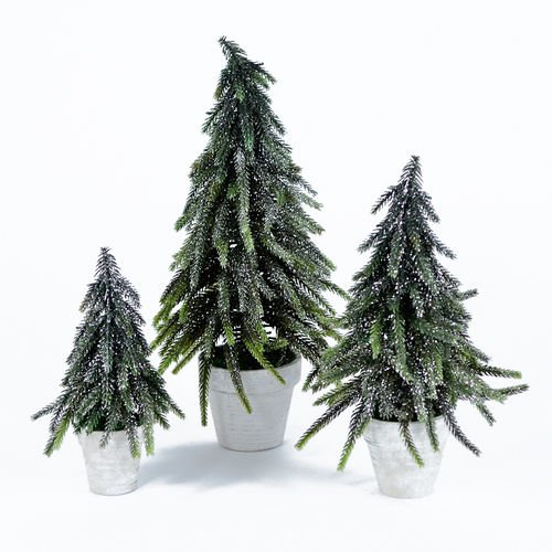 Set of 3 Potted Pine Christmas Tabletop Display Trees, 8 Inch, 10.5 Inch, 12.5 Inch