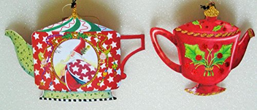 Two Different Designs By Mary Engelbreit Christmas Teapot Ornaments in Tin