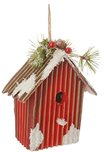 5.25″ Country Cabin Frosted and Glittered Red Birdhouse Christmas Ornament