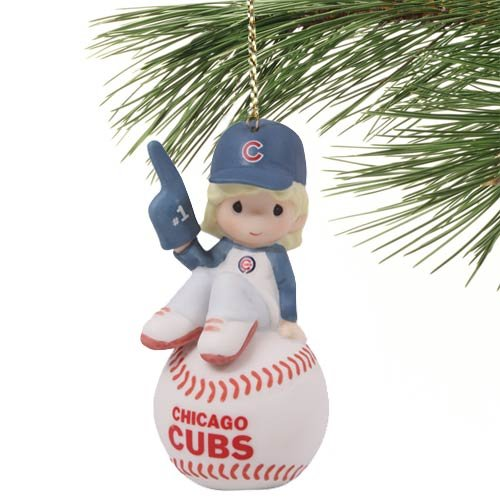 MLB Precious Moments Chicago Cubs Number 1 Fan Girl Ornament