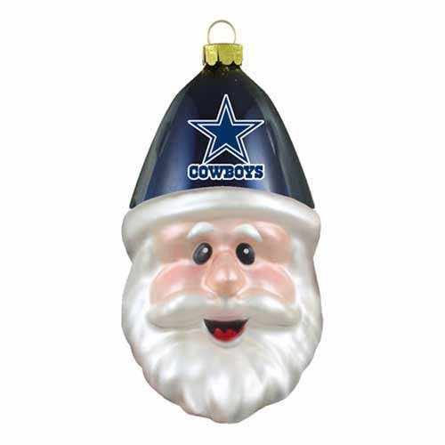 Dallas Cowboys Blown Glass Santa Cap Christmas Tree Ornament