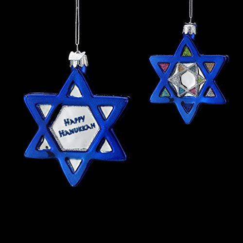 "Noble Gems Glass ""happy Hanukkah"" Shiny Finish Jewish Star Ornament"