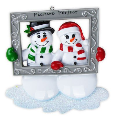 1 X Personalized Snowman Couple Holiday Gift Expertly Handwritten Ornament