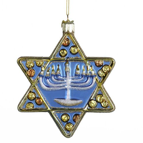 Kurt Adler 4-1/2-Inch Noble Gems Glass Star of David Ornament
