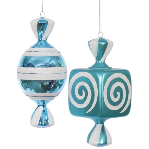 Vickerman 34024 – 8″ Teal / White Fat Candy Christmas Tree Ornament Assorted (2 pack) (O132012)