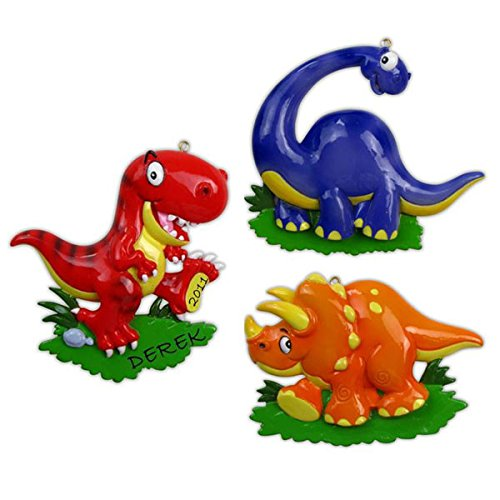 Dinosaur Red Personalized Christmas Tree Ornament