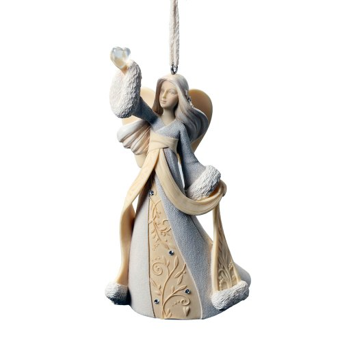 Enesco Foundations Angel with Heart Ornament, 4-3/4-Inch