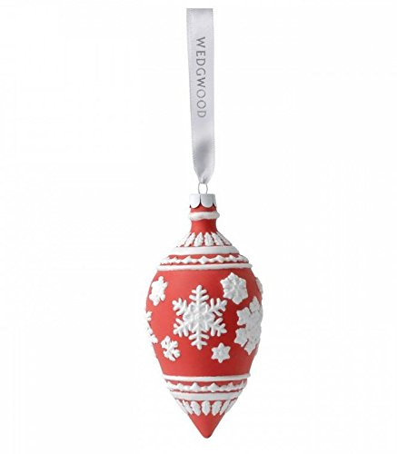Wedgwood Snowflake Teardrop Christmas Ornament, Red