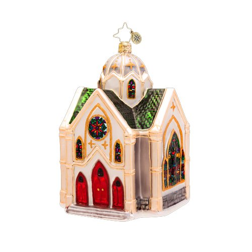 Christopher Radko Glass Heavenly Reflections Church Christmas Ornament #1017269
