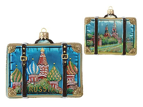 Russia Travel Suitcase Polish Mouth Blown Glass Christmas Ornament