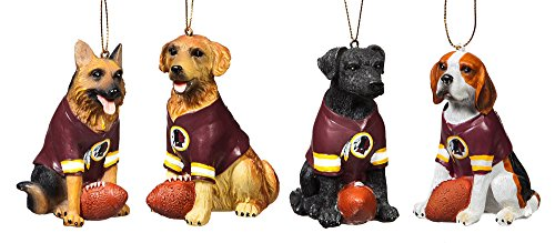 Team Dog Ornaments, 4 Assort., Washington Redskins