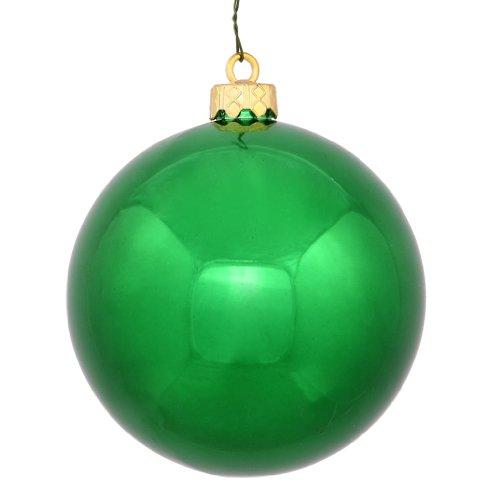 Vickerman 34898 – 4″ Green Shiny Ball Christmas Tree Ornament (6 pack) (N591004DSV)